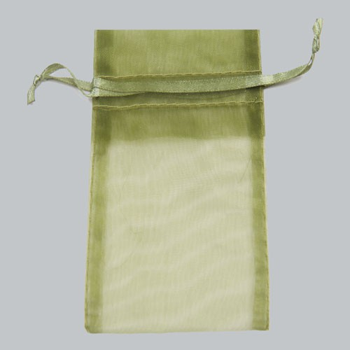 5.5 x 9 OLIVE GREEN SHEER ORGANZA POUCHES