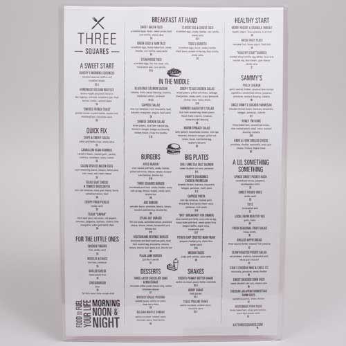 11 x 17 CLEAR VINYL MENU SLEEVES