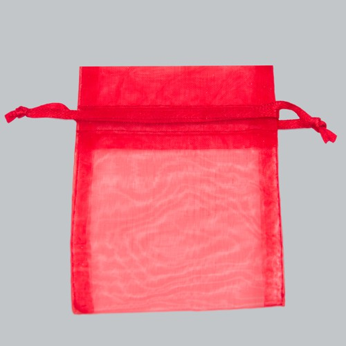 3 x 4 RED SHEER ORGANZA POUCHES