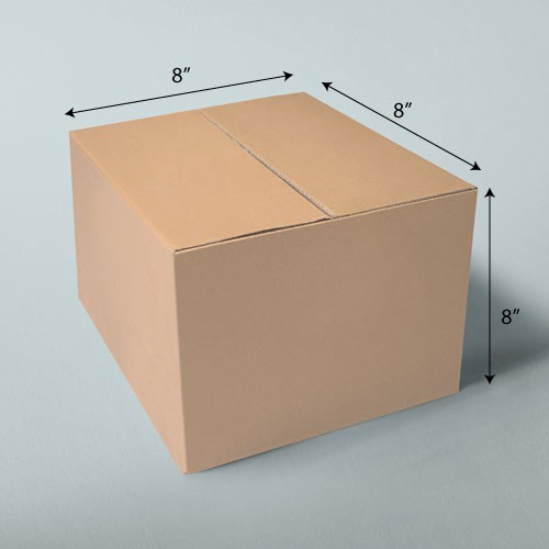 8 x 8 x 8 NATURAL KRAFT CORRUGATED SHIPPING BOXES