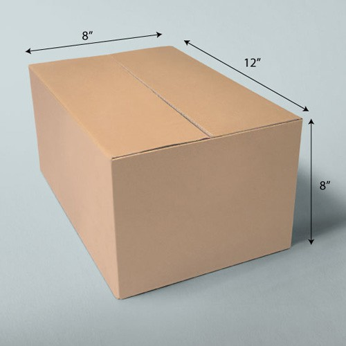 12 x 8 x 8 NATURAL KRAFT CORRUGATED SHIPPING BOXES