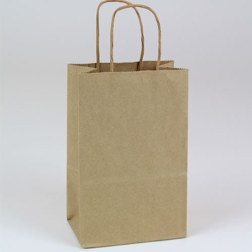 5.5 x 3.25 x 8.37 NATURAL KRAFT PAPER SHOPPING BAGS - RECYCLED