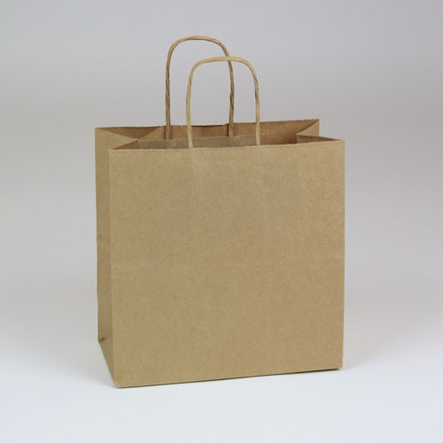 8 x 4 x 8 NATURAL KRAFT PAPER SHOPPING BAGS - 51% RECYCLED