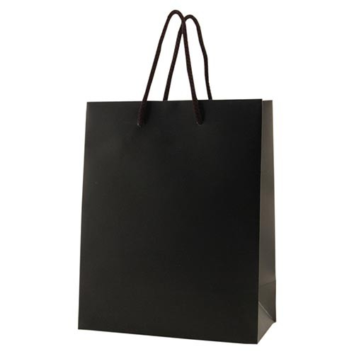 8 x 4 x 10 MATTE BLACK EUROTOTE SHOPPING BAGS
