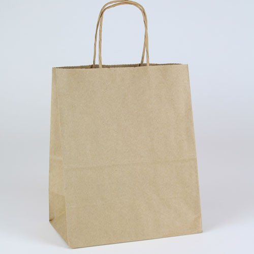 8 x 4.75 x 10.5 NATURAL KRAFT PAPER SHOPPING BAGS - 100% RECYCLED