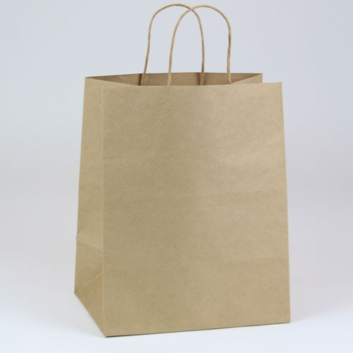 10 x 5 x 13.5 NATURAL KRAFT PAPER SHOPPING BAGS - 51% RECYCLED
