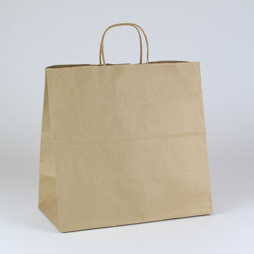 13 x 7 x 12.5 NATURAL KRAFT PAPER SHOPPING BAGS - 51% RECYCLED