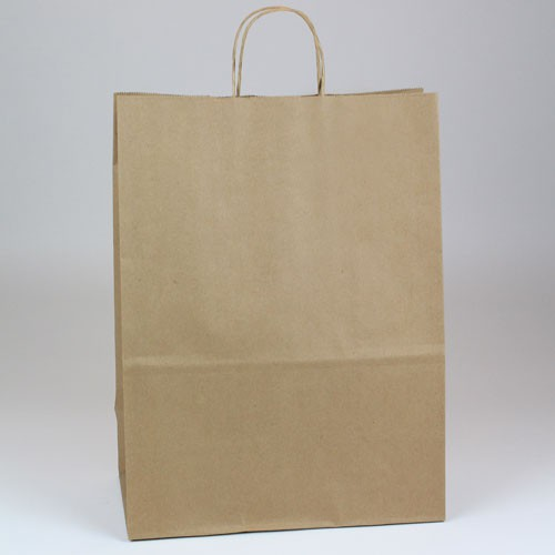 13 x 7 x 17.5 NATURAL KRAFT PAPER SHOPPING BAGS - 51% RECYCLED