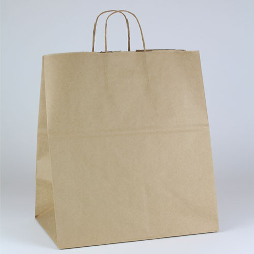 14 x 9.5 x 16.25 NATURAL KRAFT PAPER SHOPPING BAGS - 51% RECYCLED