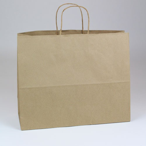 16 x 6 x 13 NATURAL KRAFT PAPER SHOPPING BAGS- 100% RECYCLED