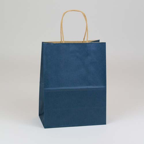 8 x 4.75 x 10.5 NAVY BLUE MATTE SHADOWSTRIPE PAPER BAGS ***LIMITED AVAILABILITY***
