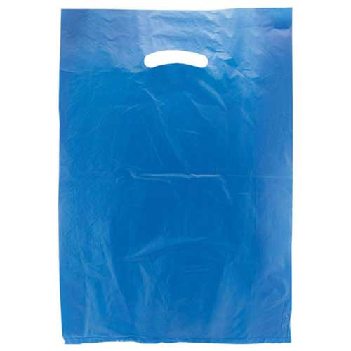 12 x 3 x 18 DARK BLUE SATIN HIGH DENSITY PLASTIC BAGS