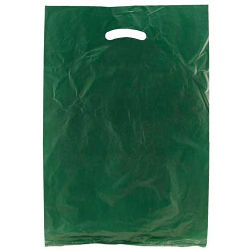 13 x 3 x 21 DARK GREEN SATIN HIGH DENSITY PLASTIC BAGS