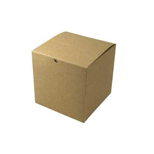 7 X 7 X 7 Natural Kraft Pinstripe Tuck Top Gift Boxes