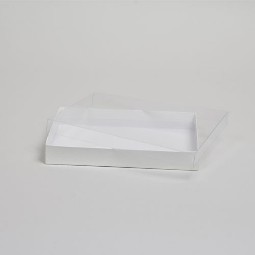 6-9/16 x 4-13/16 x 1 WHITE GLOSS CLEAR TOP GIFT BOXES