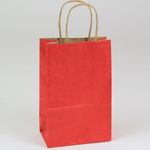 5.5 x 3.25 x 8.37 REALLY RED MATTE SHADOWSTRIPE PAPER BAGS