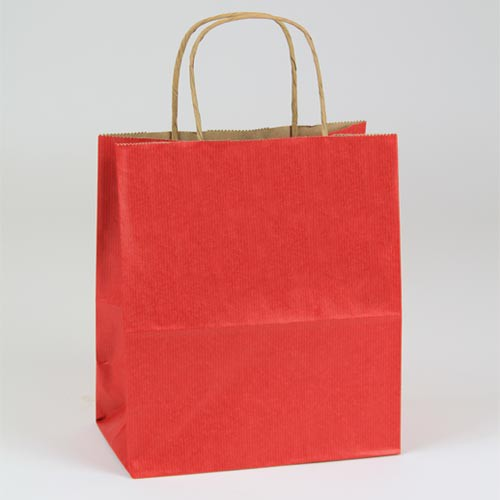 8 x 4.75 x 10.5 REALLY RED MATTE SHADOWSTRIPE PAPER BAGS