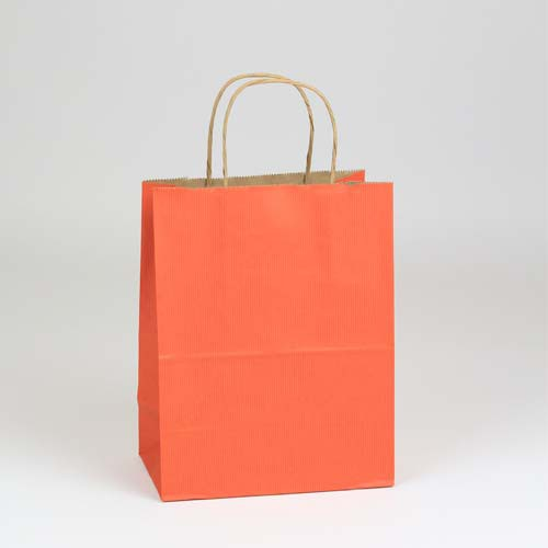 8 x 4.75 x 10.5 TERRA COTTA MATTE SHADOWSTRIPE PAPER BAGS ***LIMITED AVAILABILITY***