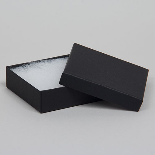 (#33) 3-1/2 x 3-1/2 x 1 MATTE ONYX BLACK JEWELRY BOXES