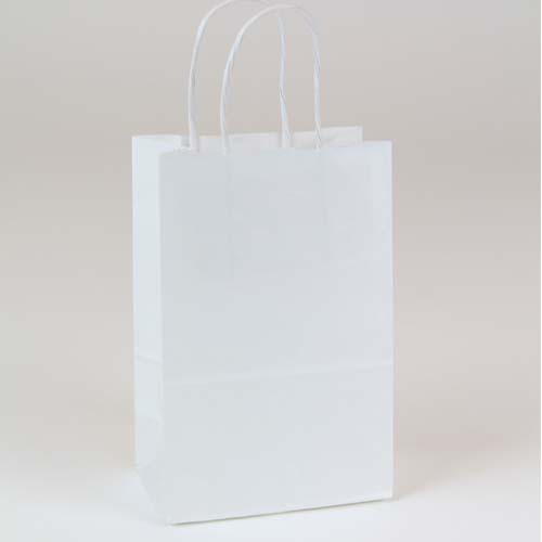 5.75 x 3.25 x 8.37 ECONOMY WHITE KRAFT PAPER SHOPPING BAGS