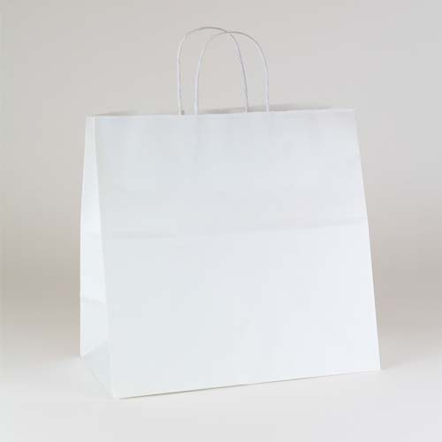 13 x 7 x 13 ECONOMY WHITE KRAFT PAPER SHOPPING BAGS