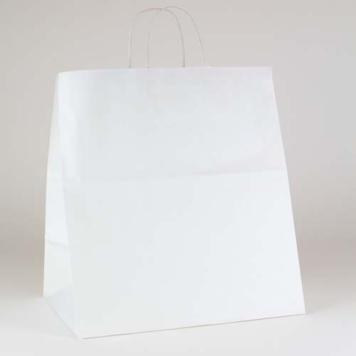 14 x 9.5 x 16.25 ECONOMY WHITE KRAFT PAPER SHOPPING BAGS