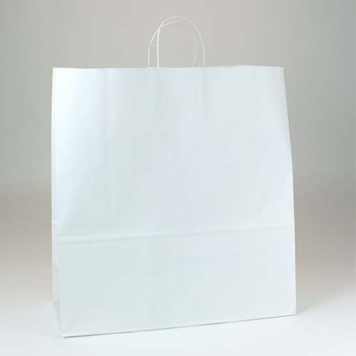 18 x 7 x 18.75 WHITE KRAFT PAPER SHOPPING BAGS