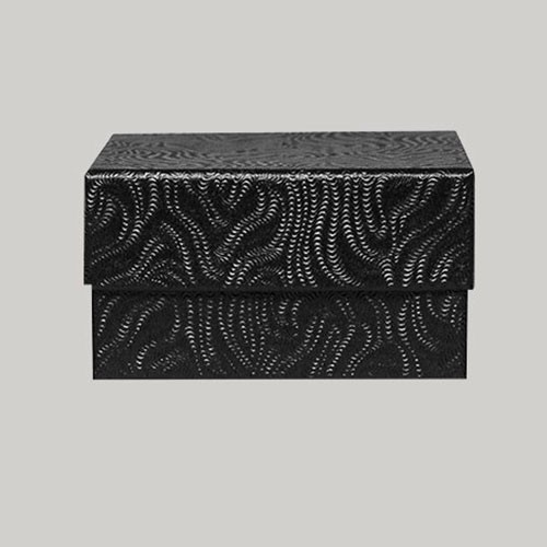 (#33D) 3-1/2 x 3-1/2 x 1-1/2 BLACK SWIRL JEWELRY BOXES
