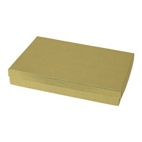 (#85) 8 x 5-1/2 x 1-1/4 GOLD LINEN JEWELRY BOXES