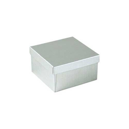 (#33D) 3-1/2 x 3-1/2 x 1-1/2 SILVER LINEN JEWELRY BOXES