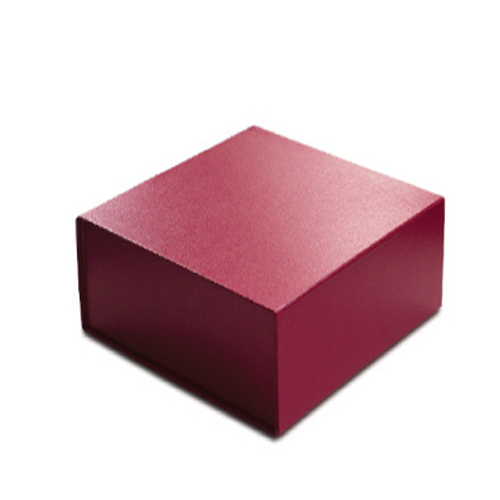 6 x 6 x 2-3/4 RED LEATHER MAGNETIC GIFT BOX