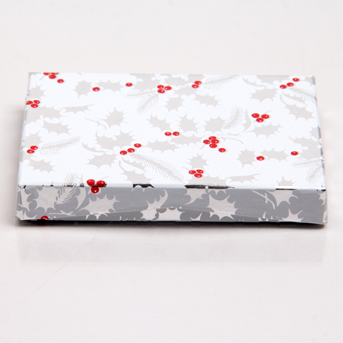 4-5/8 x 3-3/8 x 5/8 HOLLY BERRY GIFT CARD BOX WITH POP-UP INSERT