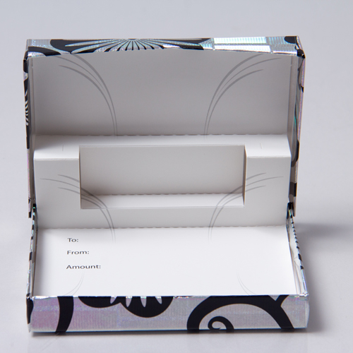 4-5/8 x 3-3/8 x 5/8 HOLO. FLOWERS GIFT CARD BOX WITH POP UP INSERT