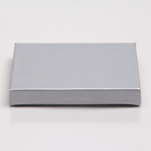 4-5/8 x 3-3/8 x 5/8 SILVER MATTE GIFT CARD BOX WITH PLASTIC INSERT