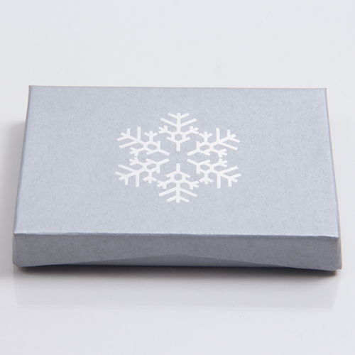 4-5/8 x 3-3/8 x 5/8 KRAFTY SILVER SNOW GIFT CARD BOX WITH POP-UP INSERT