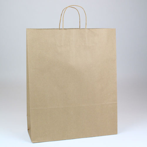 16 x 6 x 19.25 NATURAL KRAFT PAPER SHOPPING BAGS- 100% RECYCLED