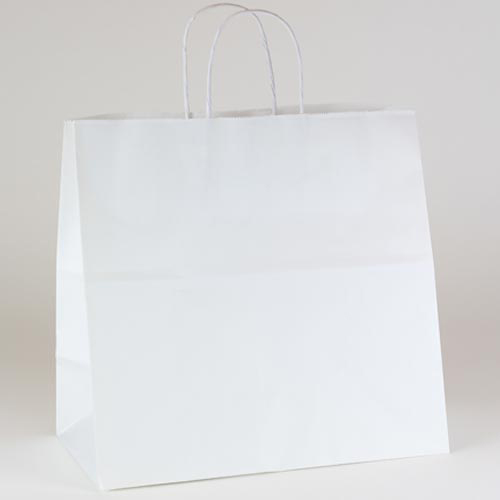 24 x 7.5 x 18.75 ECONOMY WHITE KRAFT PAPER SHOPPING BAGS