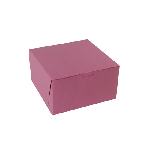 7 x 7 x 4 STRAWBERRY PINK ONE-PIECE BAKERY BOXES