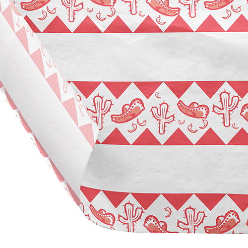 12 x 12 FOOD SAFE TISSUE BASKET LINERS 18# DRY WAX - FIESTA RED