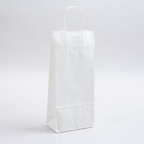 5.75 x 3.25 x 13 WHITE KRAFT PAPER SHOPPING BAGS - 100% RECYCLED