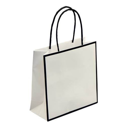 7 x 3 x 7 WHITE WITH BLACK TRIM PAPER SHOPPING BAGS