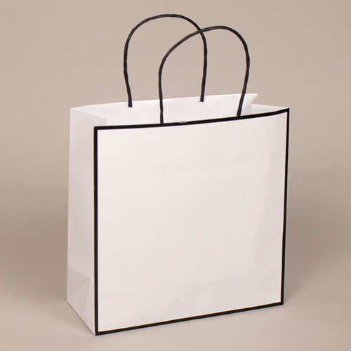 10 x 4 x 10 WHITE WITH BLACK TRIM PAPER SHOPPING BAGS