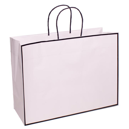 16 x 6 x 12 WHITE WITH BLACK TRIM PAPER SHOPPING BAGS