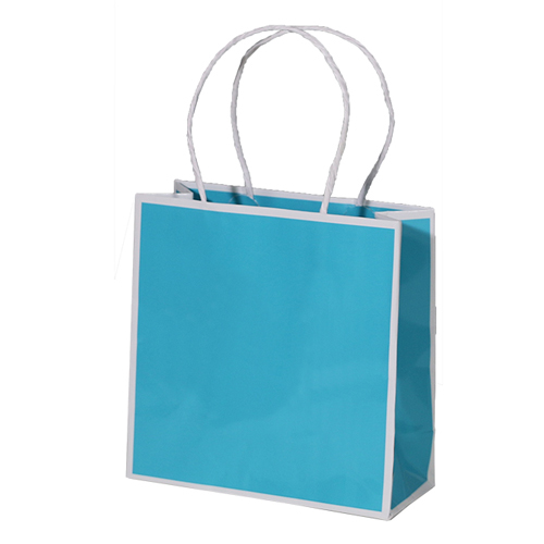 7 x 3 x 7 BAY BLUE PAPER SHOPPING BAGS