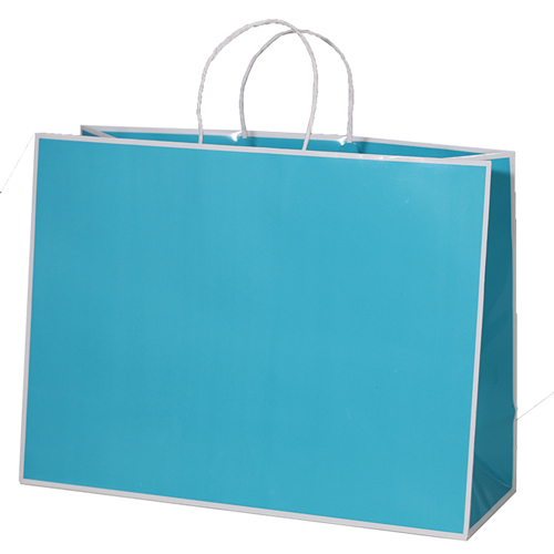 16 x 6 x 12 BAY BLUE PAPER SHOPPING BAGS
