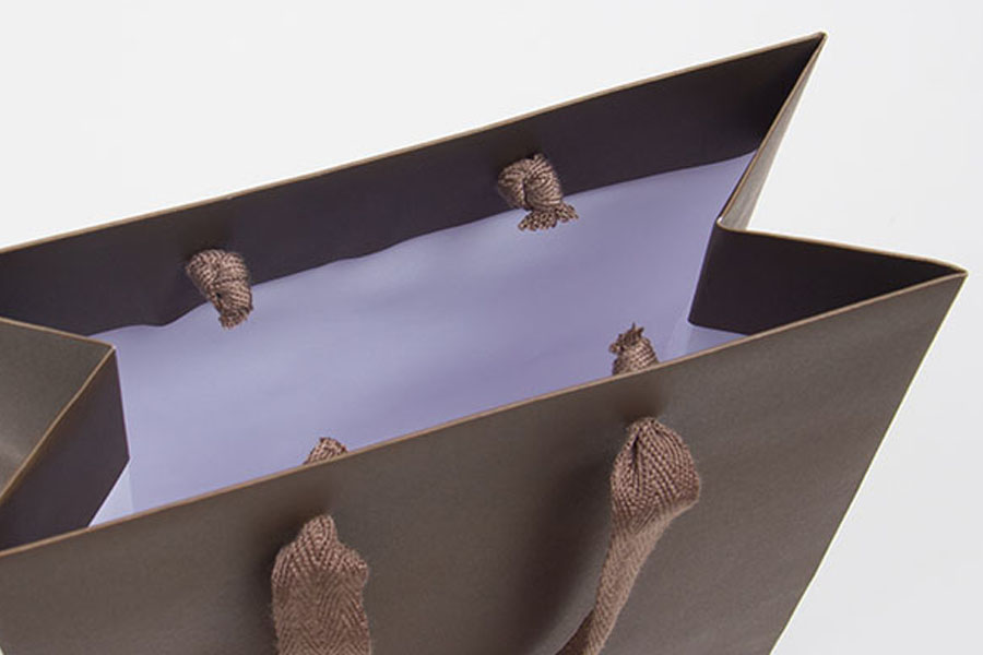 8 x 4 x 10 MATTE CHOCOLATE TINTED PAPER EUROTOTES - TWILL RIBBON HANDLES