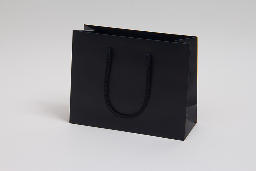 9 x 3.5 x 7 MATTE BLACK EUROTOTE SHOPPING BAGS