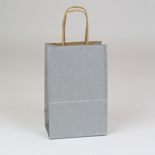 5.5 x 3.25 x 8 SILVER METALLIC PAPER SHOPPING BAGS ***LIMITED AVAILABILITY***