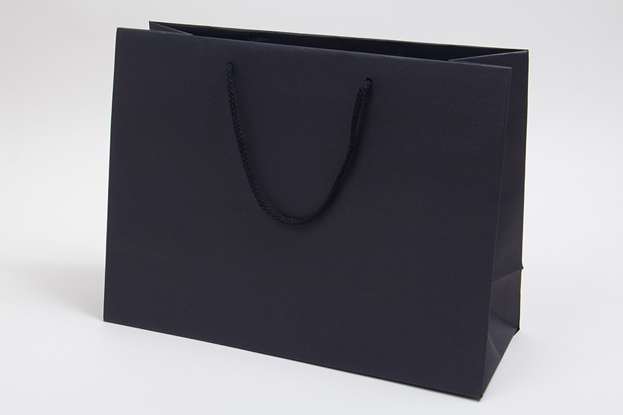 16 x 6 x 12 BLACK TEXTURED EUROTOTE SHOPPING BAGS