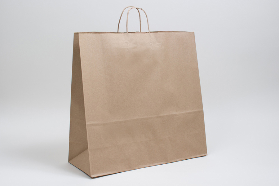 18 X 7 X 18 75 Natural Kraft Paper Shopping Bags With Twisted Paper